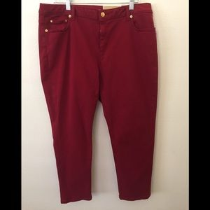 MICHAEL KORS IZZY CROPPED SKINNY MAROON JEANS